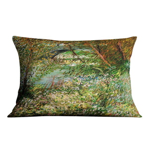 Banks of the Seine with Pont de Clichy in the Spring by Van Gogh Throw Pillow