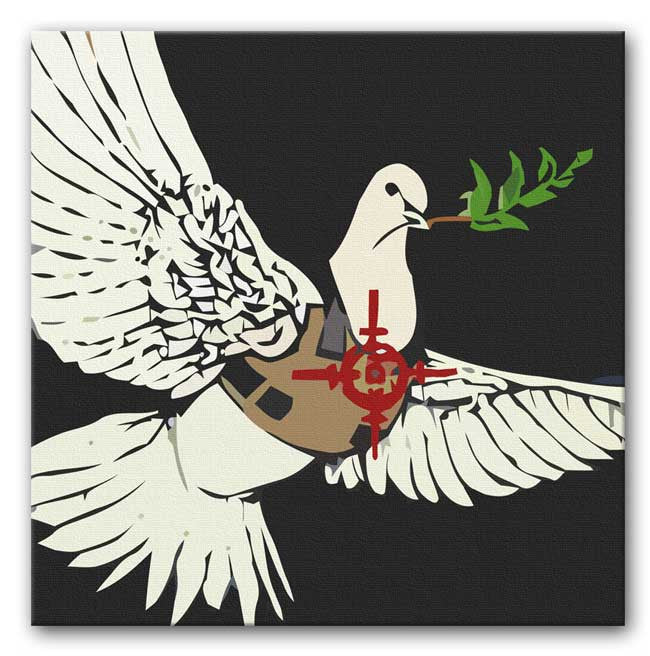 Banksy Dove in a Bulletproof Vest Print - Canvas Art Rocks