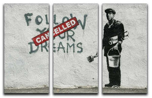 Banksy Follow Your Dreams - Cancelled Split-Panel Canvas Print - Canvas Art Rocks