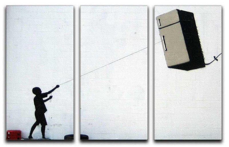 Banksy Fridge Kite Split-Panel Canvas Print - Canvas Art Rocks
