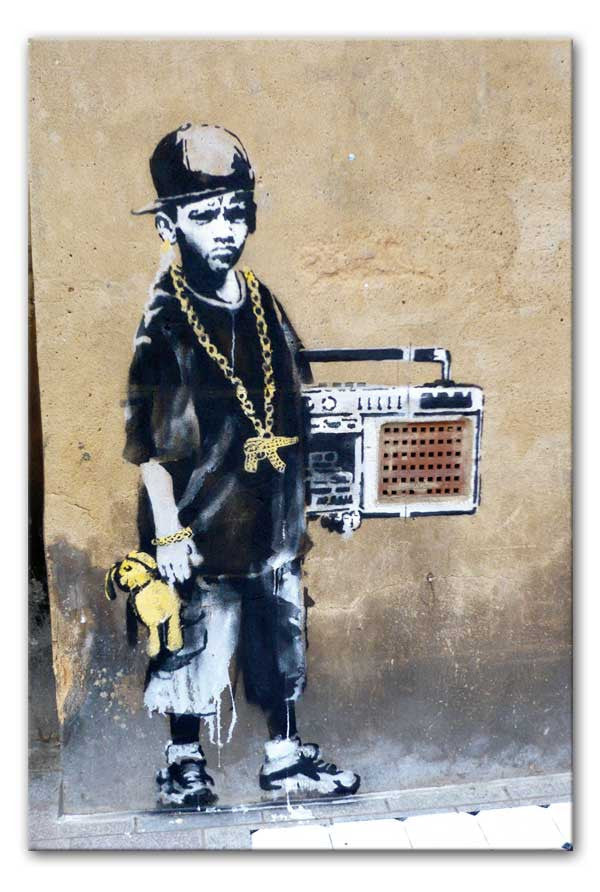 Banksy Gangster Boy with Ghetto Blaster Canvas Print or Poster