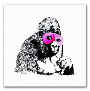 Banksy Gorilla in Pink Mask Print - Canvas Art Rocks
