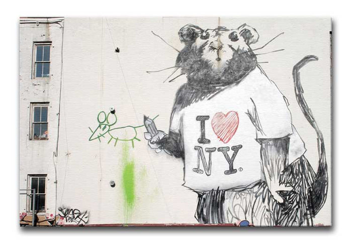 Banksy Rat I Love New York Canvas Print or Poster