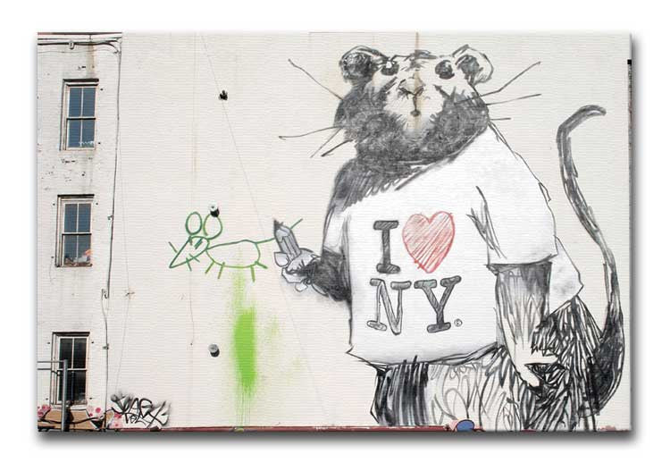 Banksy Rat I Love New York Print - Canvas Art Rocks - 1