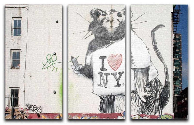 Banksy I Love New York Rat Split-Panel Canvas Print - Canvas Art Rocks