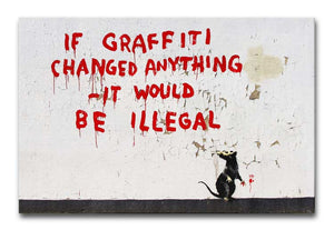 Banksy If Graffiti Changed Anything Print - Canvas Art Rocks - 1