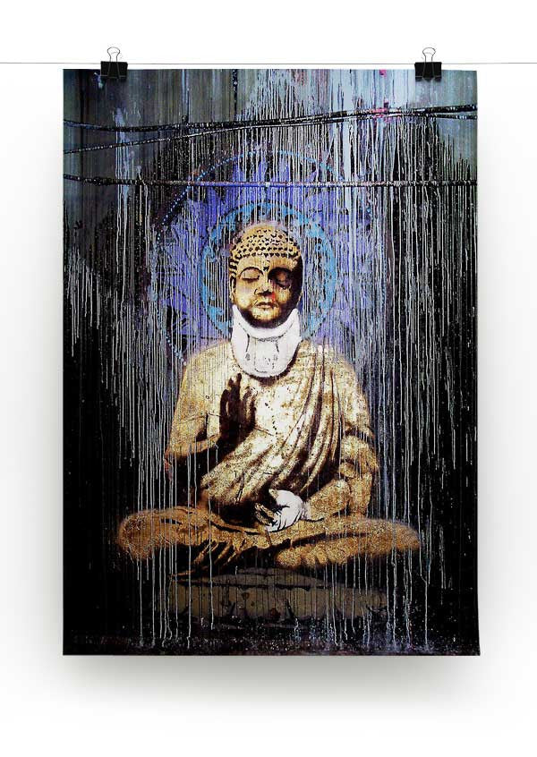 Banksy Injured Buddha Print - Canvas Art Rocks - 2