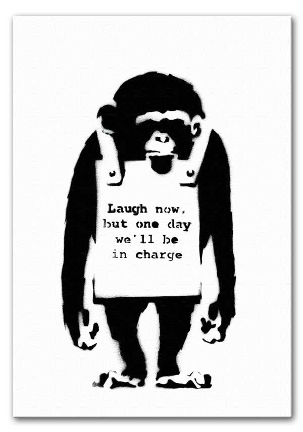 Banksy Laugh Now Monkey Print - Canvas Art Rocks - 1