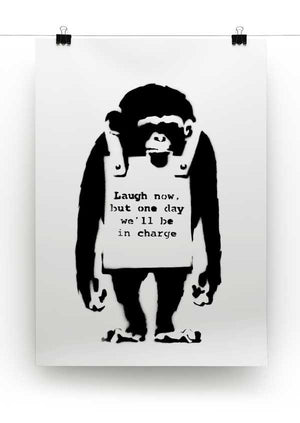 Various Sizes Monkey-Laugh-Now BANKSY CANVAS WALL ART FRAMED PRINT