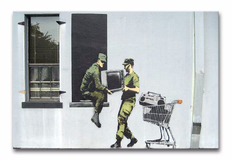Banksy Looting Soldiers Print - Canvas Art Rocks - 1