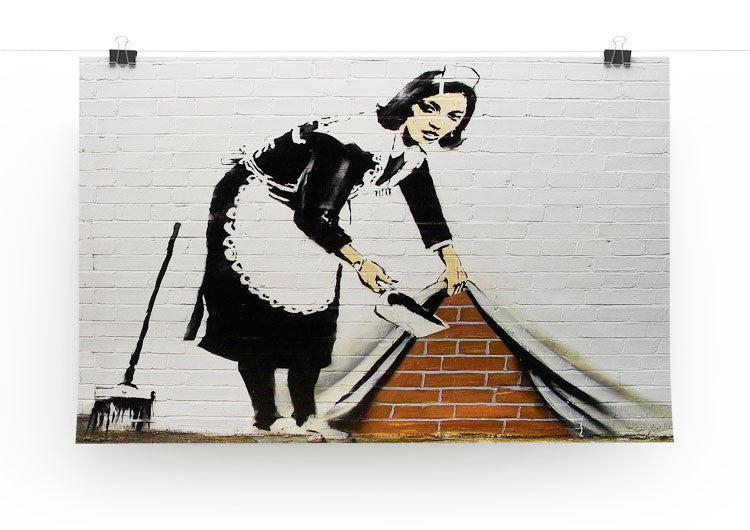 Banksy Maid Sweeping Under the Carpet Print - Canvas Art Rocks - 2