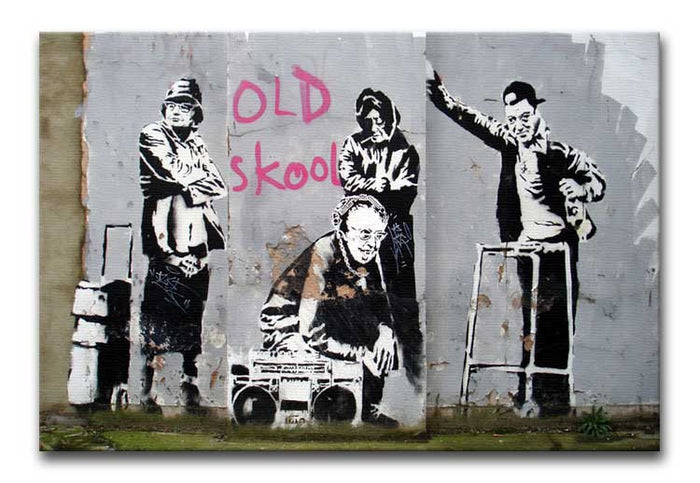 Banksy Old Skool Canvas Print or Poster