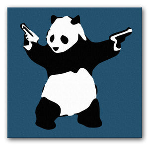 Banksy Panda with Guns Print - Canvas Art Rocks - 7