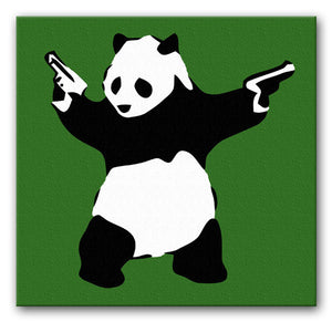 Banksy Panda with Guns Print - Canvas Art Rocks - 4