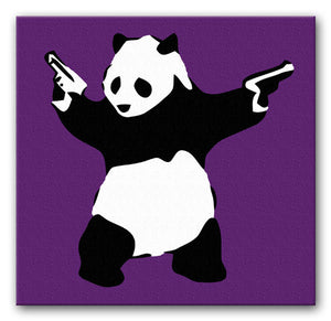 Banksy Panda with Guns Print - Canvas Art Rocks - 3