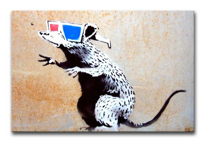 Banksy Rat Wearing 3D Glasses Canvas Print or Poster