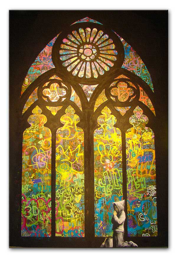 Banksy Stained Glass Window Canvas Print or Poster