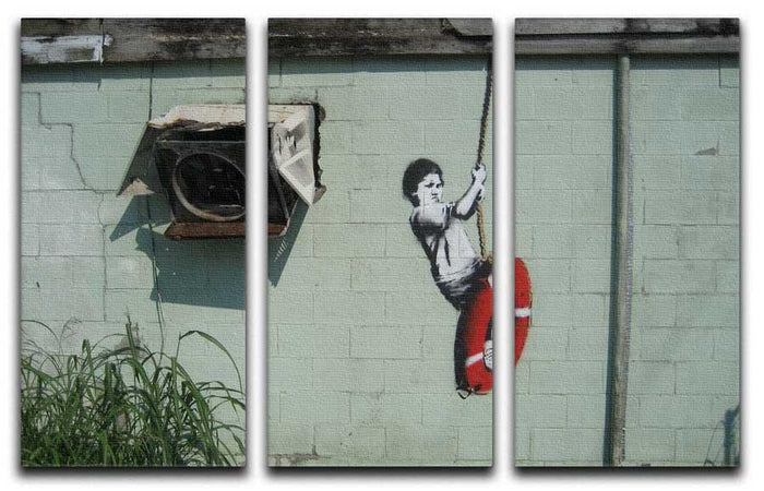 Banksy Swing Boy 3 Split Panel Canvas Print