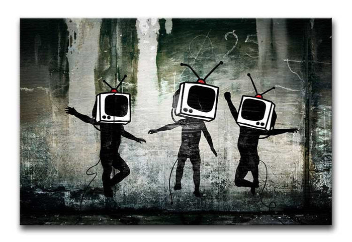 Banksy Dancing TV Heads Canvas Print or Poster