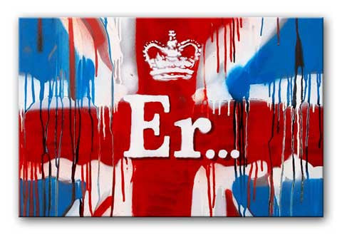 Banksy Union Jack ER Canvas Print or Poster