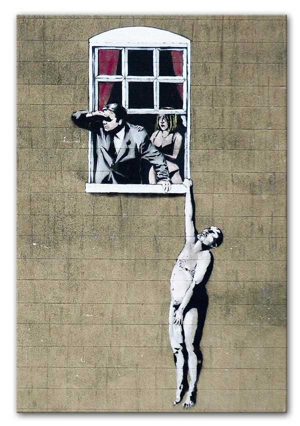 Banksy Window Lovers Canvas Print or Poster