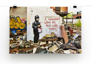 Banksy I Remember When All This Was Trees Print - Canvas Art Rocks - 2