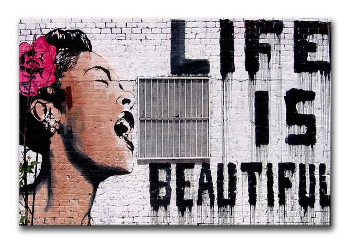 Banksy Life is Beautiful  - Version 2 Canvas Print or Poster