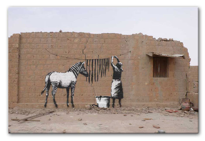 Banksy Washing Zebra Stripes Canvas Print or Poster