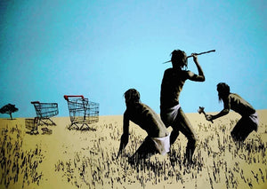 Banksy Aborigine Hunters Wall Mural Wallpaper - Canvas Art Rocks - 1