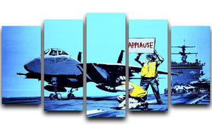 Banksy Aircraft Carrier Applause 5 Split Panel Canvas  - Canvas Art Rocks - 1
