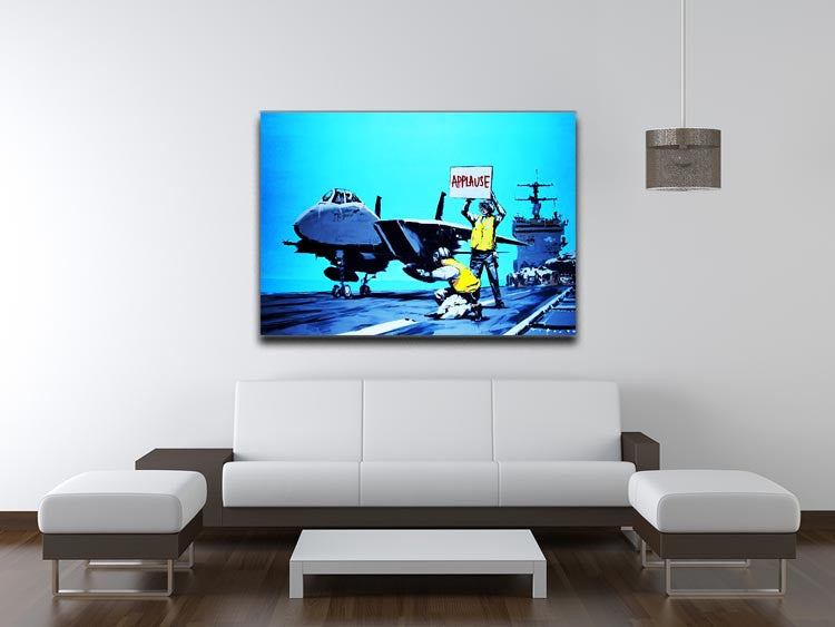 Banksy Aircraft Carrier Applause Print - Canvas Art Rocks - 4