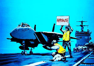 Banksy Aircraft Carrier Applause Wall Mural Wallpaper - Canvas Art Rocks - 1