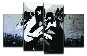 Banksy Angels In Moonlight 4 Split Panel Canvas  - Canvas Art Rocks - 1