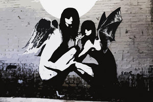 Banksy Angels In Moonlight Wall Mural Wallpaper - Canvas Art Rocks - 1