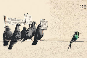 Banksy Anti-Immigration Birds Wall Mural Wallpaper - Canvas Art Rocks - 1