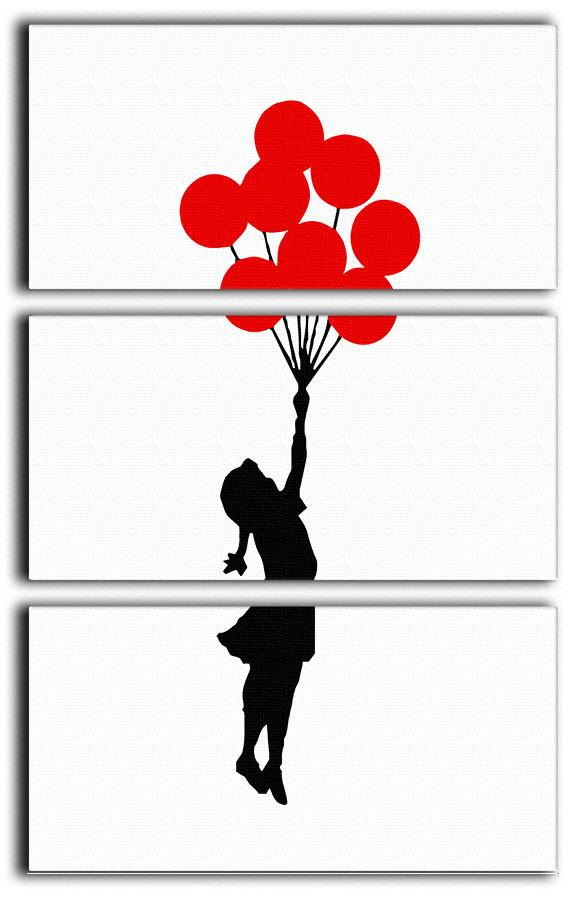 Banksy Flying Balloon Girl 3 Split Canvas Print - US Canvas Art Rocks