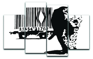 Banksy Barcode Leopard 4 Split Panel Canvas  - Canvas Art Rocks - 1