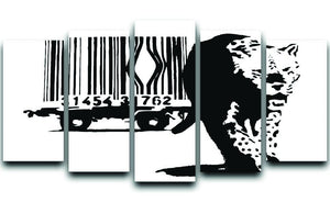 Banksy Barcode Leopard 5 Split Panel Canvas  - Canvas Art Rocks - 1