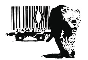 Banksy Barcode Leopard Wall Mural Wallpaper - Canvas Art Rocks - 1