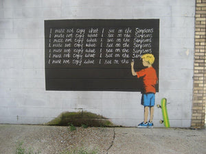 Banksy Bart Simpson Wall Mural Wallpaper - Canvas Art Rocks - 1