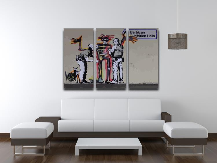 Banksy Basquiat Metropolitan Police 3 Split Panel Canvas Print - Canvas Art Rocks - 3