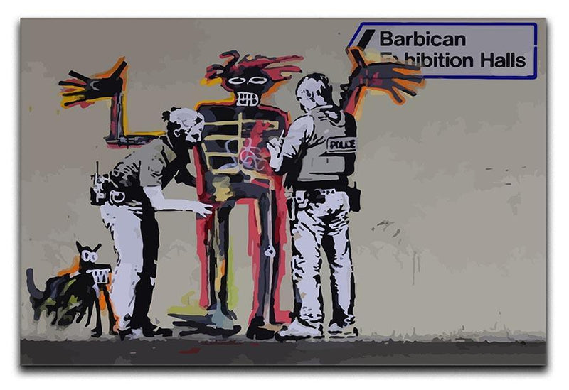 Banksy Basquiat Metropolitan Police 3 Split Panel Canvas Print - Canvas Art Rocks
