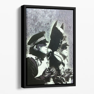 Banksy Batman and the Police Floating Framed Canvas