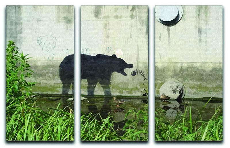 Banksy Bear 3 Split Panel Canvas Print - Canvas Art Rocks - 1