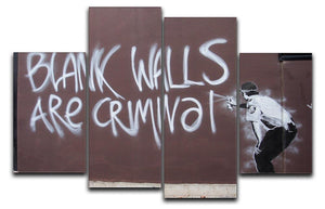 Banksy Blank Walls Are Criminal 4 Split Panel Canvas  - Canvas Art Rocks - 1