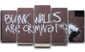 Banksy Blank Walls Are Criminal 5 Split Panel Canvas  - Canvas Art Rocks - 1