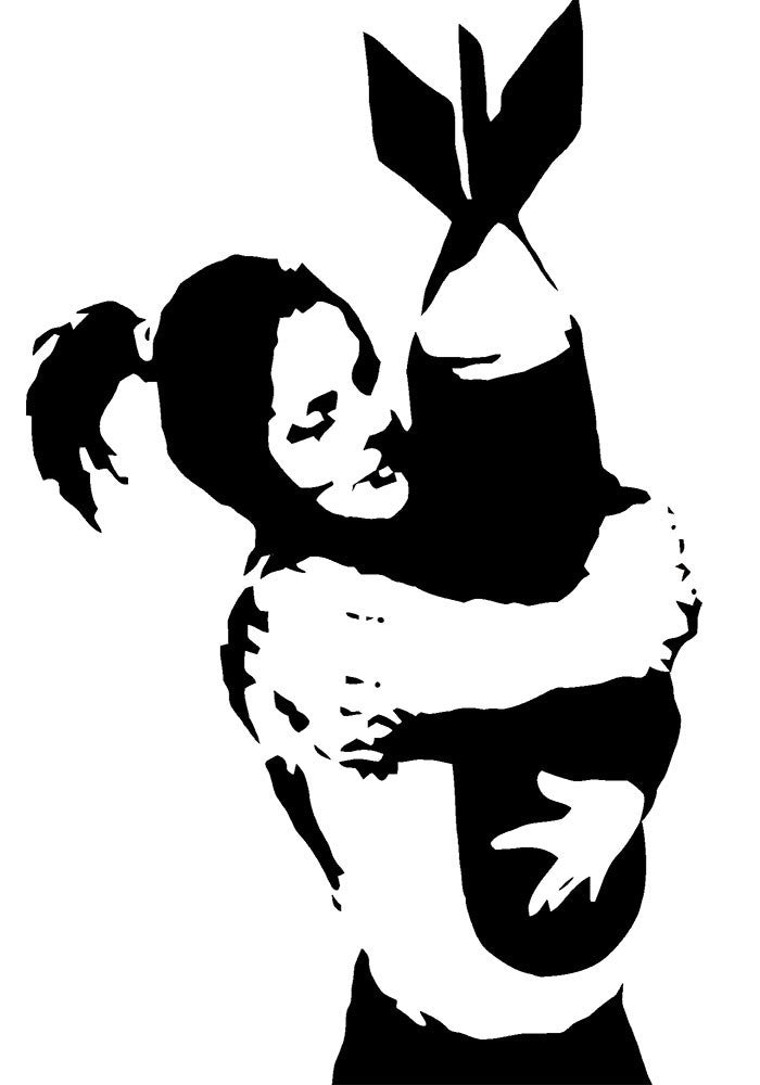 Banksy Bomb Hugger Wall Decal - US Canvas Art Rocks