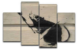 Banksy Broom Rat 4 Split Panel Canvas  - Canvas Art Rocks - 1
