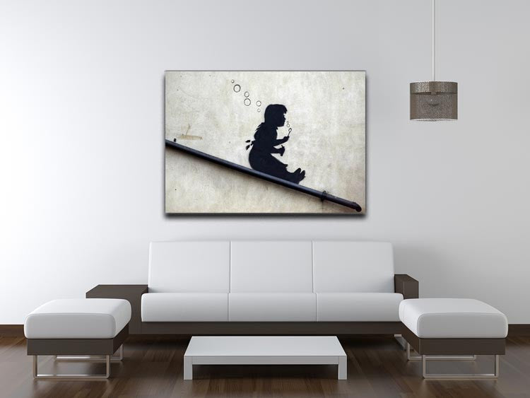 Banksy Bubble Slide Girl Print - Canvas Art Rocks - 4