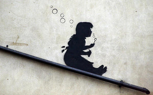 Banksy Bubble Slide Girl Wall Mural Wallpaper - Canvas Art Rocks - 1